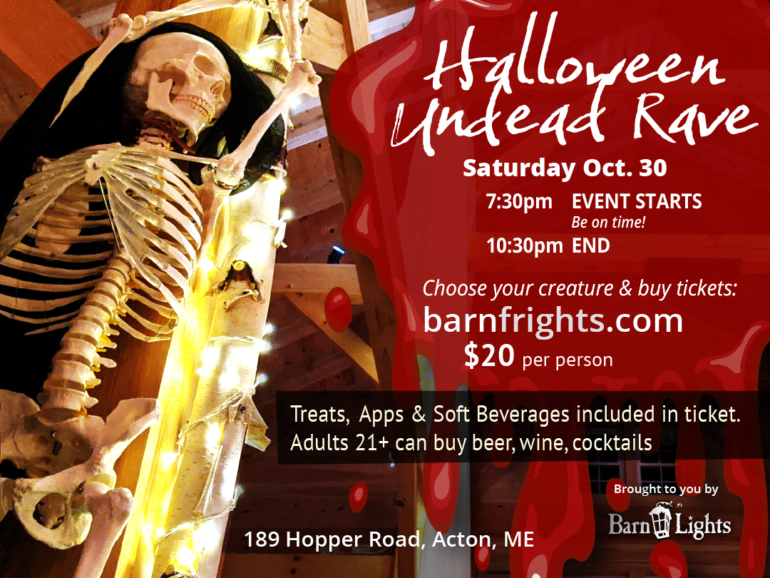 halloween dance party rave at barn lights in acton maine